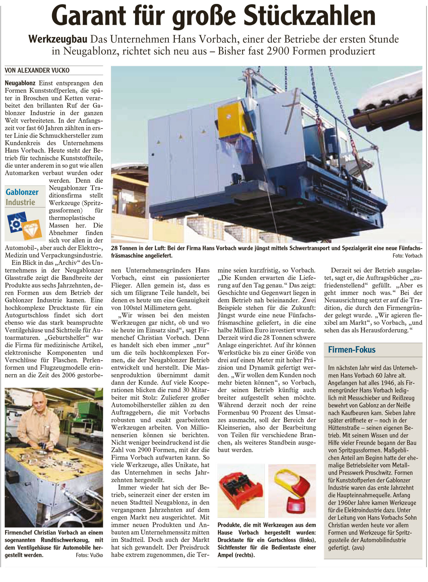 Pressebericht über Firma Vorbach Formenbau GmbH